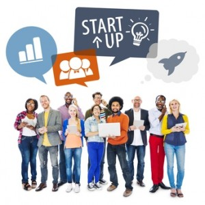 Multiethnic Group of People Using Digital Devices with Startup